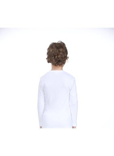 Zeyzey Erkek Çocuk Uzun Kol T-Shirt Beyaz